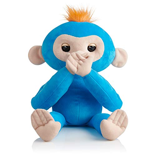 Fingerlings HUGS - Boris (Blue) - Advanced Interactive Plush Baby Monkey Pet - by WowWee