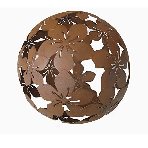 P1 Kugel Dekokugel Gartenkugel *Blume* Metall Rost-Optik - D20cm