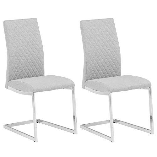 IDIMEX Schwingstuhl Dora Stoff, Freischwinger Stuhl Esszimmer Stühle Küchen Polster, Stoffbezug hellgrau im 2er Pack modernes Design