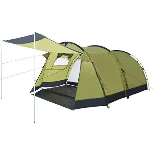 vidaXL Tente de Camping Tunnel Randonnée Voyage Extérieur Aventure de Camping Résistant aux UV et à l'eau Stable Durable 4 Personnes Vert