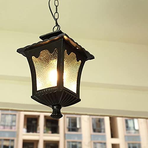 JIANAND IP23 Iluminación Exterior Candelabro Patrón de Agua Sombra de Vidrio Linterna Colgante Luz Colgante E27 Lámpara de Techo Impermeable Lámpara suspendida a Prueba de Lluvia Pabellón Patio