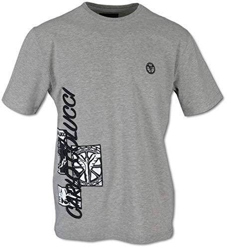 Carlo Colucci T-Shirt mit 3D-Logo-Stickerei, Grau Grau M