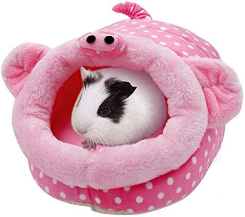 Cama para Mascota Pequeña de Felpa Formas Animales Cama Mascota para Animales Pequeños Hámster Conejo Erizo Ratón Chinchillas Cobaya Hurón (Cerdito, L)