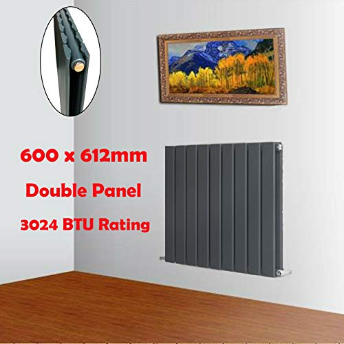 Feidak Horizontale Slanke Kolom Vlakke Panel Ontwerper Radiator 600 mm x 612 mm Dubbele Paneel Radiator Hoge Warmte Dissipatie voor Indoor Home Office Premium Laag Koolstofstaal Antraciet Finish Centrale Verwarming