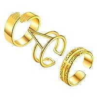 FindChic 3点セット リング 指輪 レディース ゴールド 18金 真鍮 重ねづけ 太め フリーサイズ 豪華 おしゃれ アクセサリー 親指 人差し指(セット2)