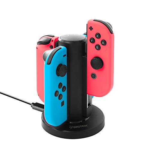 Insten Joy Con Charger for Nintendo Switch by Insten 4 in 1 Joy-Con Charging Dock Station with Individual LED Charge Indicator and USB Cable for Nintendo Switch JoyCon Controller Console Accessories