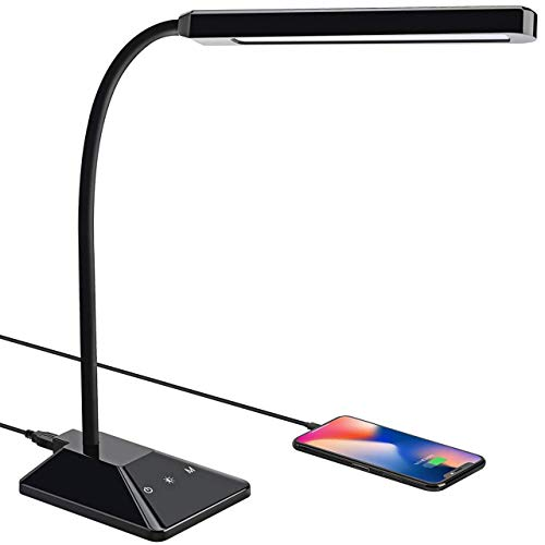 VicTsing Lampara Escritorio 48 LEDs con 25 Modos de Luz, Flexo LED Escritorio con Puerto USB de Carga Rápida, Cuello Flexible 360º, Función de Memoria, Cuidado de Ojos, Control Táctil y Bajo Consumo