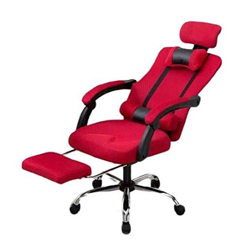 Scra AC Chair PU Computer Gaming Sedia con poggiatesta e poggiapiedi e Cuscino Lombare, 150 Gradi reclinabile Angolo, Grigio (Color : Red)