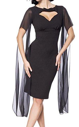 Schwarzes kurzes Pencilkleid mit Herz-Ausschnitt Midikleid Knielanges Cocktailkleid Retro Vintage Kleid Lange transparente Ärmel 4L