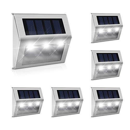 [Exclusive 3 LED] 6 Pack Hot New Brighter Outdoor Solar Powered LED Solar Step Light Outdoor Stainless Steel Solar Garden Lights Weatherproof for Stairway Lighting and Wall
