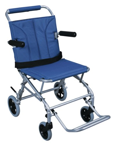 Drive Medical Lightweight Folding Transport Wheelchair With Carry Bag & Flip-Backs Arms, Blue