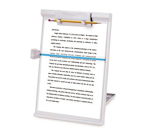 Desktop Manuskripthalter stehen, mit Line Guide und abnehmbarem Clip für Schreibtisch–Weiß grau