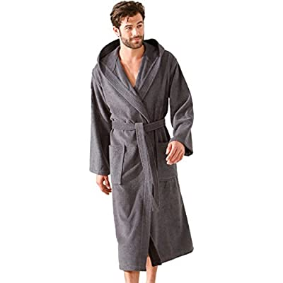 Morgenstern Men Dressing Gown Hooded Towelling Cotton Long