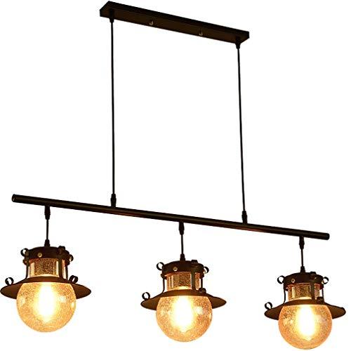 Vintage Pendelleuchte, industrielle hängende Deckenpendelleuchte mit 3-Licht-Glasschirmen, kreativer schmiedeeiserner Kronleuchter für die Kitchen Island Cafe Bar
