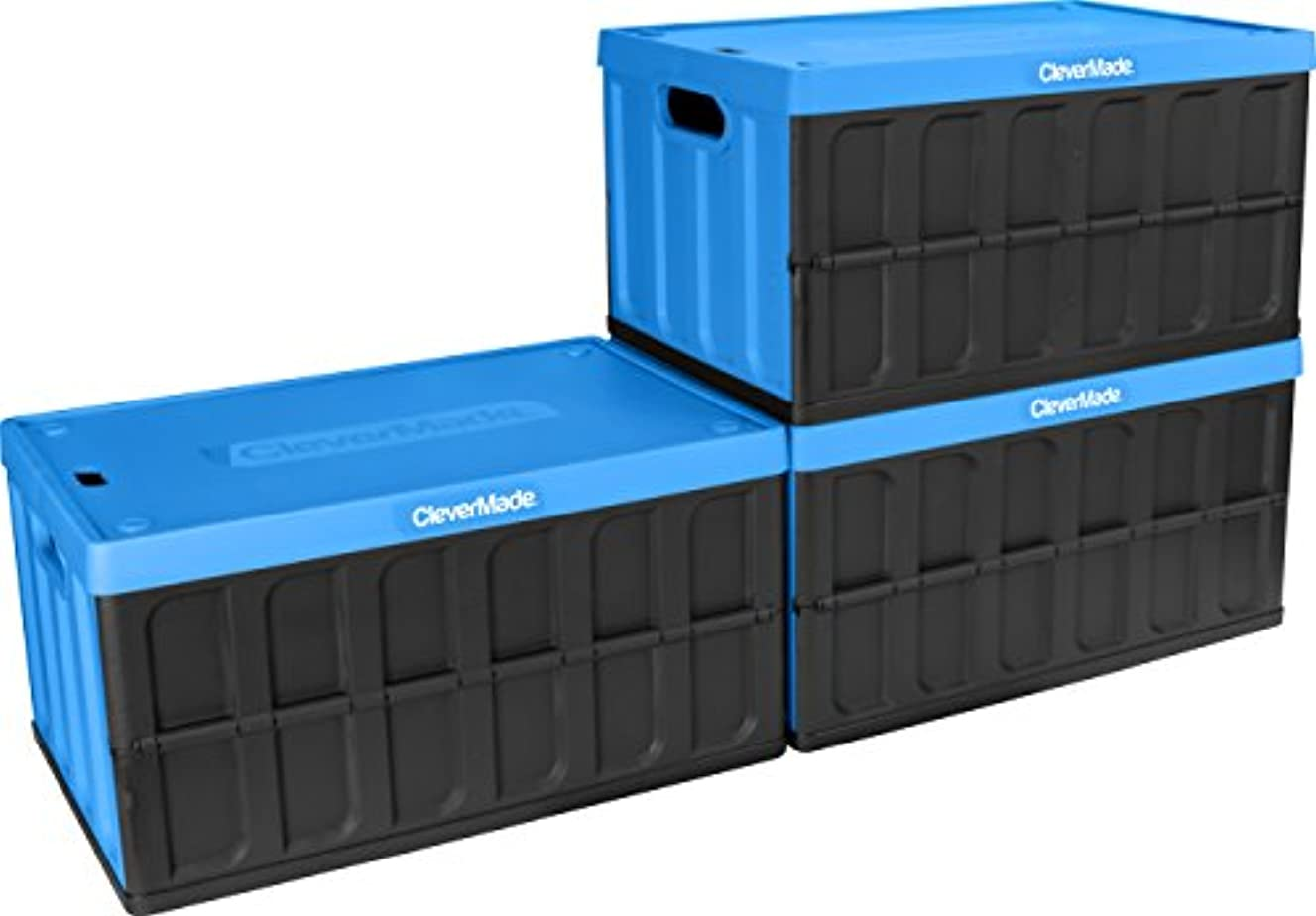 CleverMade 62L Collapsible Storage Bins with Lids - Folding Plastic Stackable Utility Crates, Solid Wall CleverCrates, 3 Pack, Neptune Blue