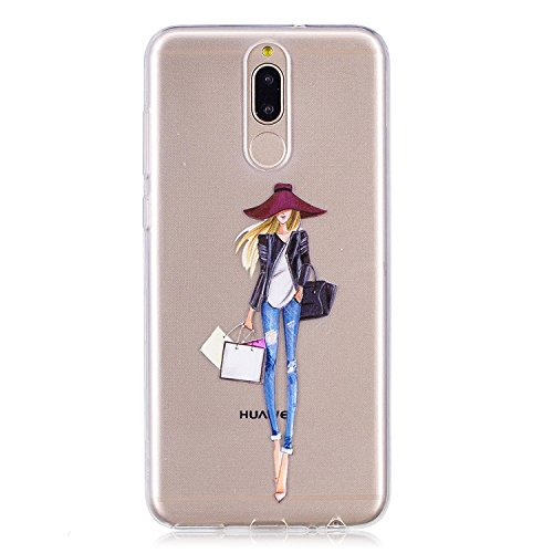 Flymaff Huawei Mate 10 Funda + [Protector de Pantalla Libre], Ultra Delgado Suave Premium Gel TPU Fashion Thin Cover Case para Huawei Mate 10, Shopping Girl, Huawei Mate 10 Lite/Huawei Nova 2i