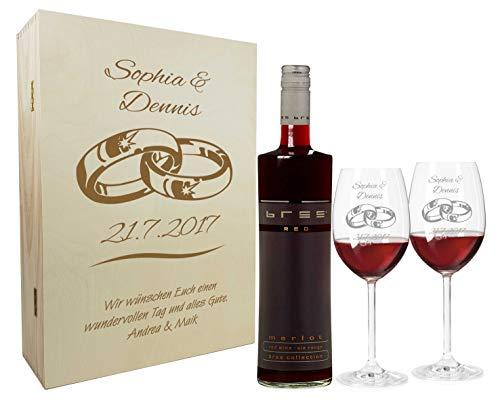 Rotwein Geschenkset mit Namen graviert - personalisierte Weingläser mit Flasche - Holzkiste mit individueller Wunsch-Gravur als Geschenk für Paare zur Hochzeit (Ringe)