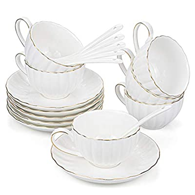 Hedume 6 Pack Espresso Cups with Saucers and Spoons, 5oz with Gold Trim Espresso Coffee Cup Set for Specialty Coffee Drinks, Latte, Cafe Mocha and Tea