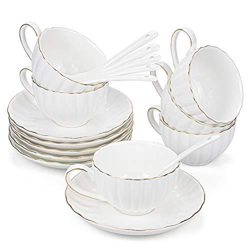 Hedume 6 Espressotassen mit Untertassen und Löffeln, 170 ml mit Goldrand, Espresso-Kaffeetassen-Set für besondere Kaffee-Getränke, Latte, Cafe Mokka und Tee