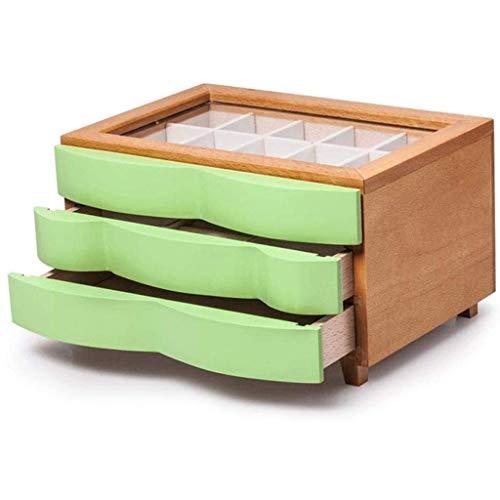 BWCGA Joyero - Joyería de Madera sólida Caja de Mujer Madera Caja de Joyas Caja de Almacenamiento (Color : A)