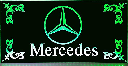LED-Leuchtschild 60x30cm ✓ Mercedes Actros ✓ LKW Rückwandschild ✓ 18 LEDs ✓ Edles LED-Schild als Truck-Accessoire | Beleuchtetes Mercedes Stern Schild für den 24Volt-Anschluss