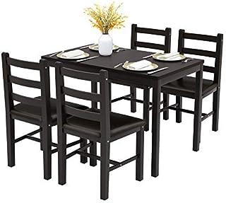 Mecor 5-Piece Wood Kitchen Dining Table Set, Pine Wood...