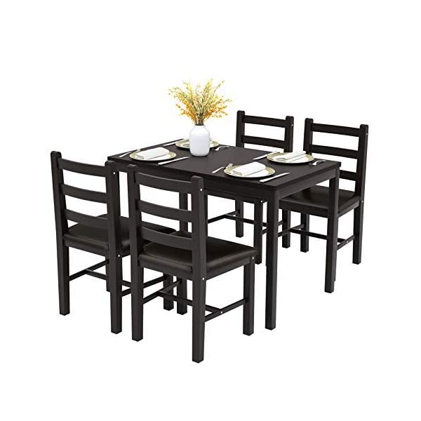 Mecor 5-Piece Wood Kitchen Dining Table Set, Pine Wood Table w/ 4 PU Leather Cushion Chairs Kitchen Room Furniture, Black