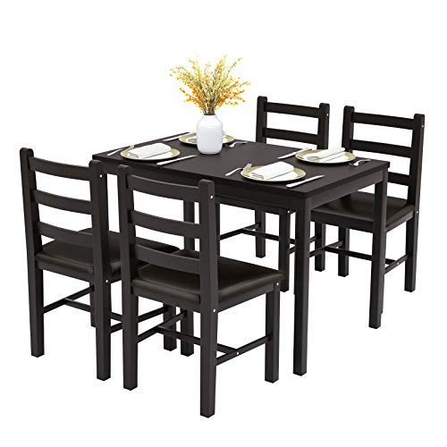 Mecor 5-Piece Wood Kitchen Dining Table Set