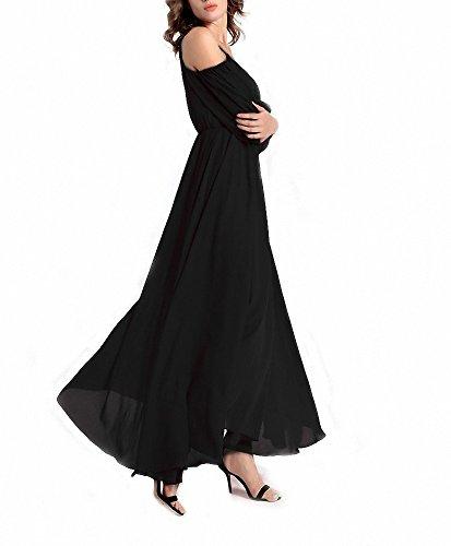 Afibi Women's Off-Shoulder Long Chiffon Casual Dress Striped Maxi Dress (Large, Black)