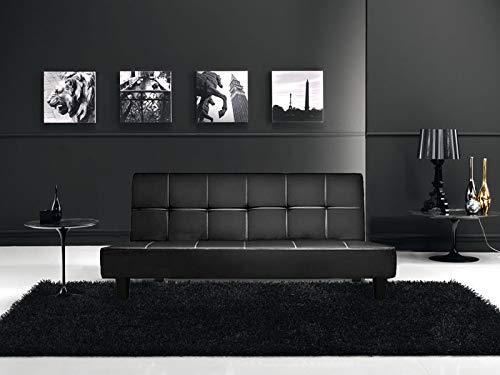 Gstore Divano Letto reclinabile 180x97x36 in Ecopelle Nero 3 posti con Sistema antiribaltamento [JS 8672 Nero Eco]