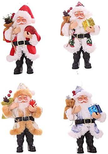 Sonline 4Pcs Santa Claus Christmas Decoration Gift Santa Claus Doll Santa Claus Pendant Christmas Ornament Santa Claus Figurine