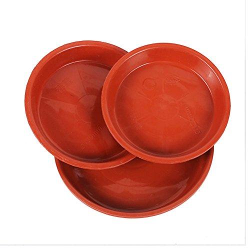 Yardwe 10 Pezzi Plastica sottovasi per Bonsai Rotonda sottovasi Balcone sottovasi fioriere sottovasi per Fiori da Interno per Piante da Giardino 20 x 20 x 1,7 cm (Rosso)