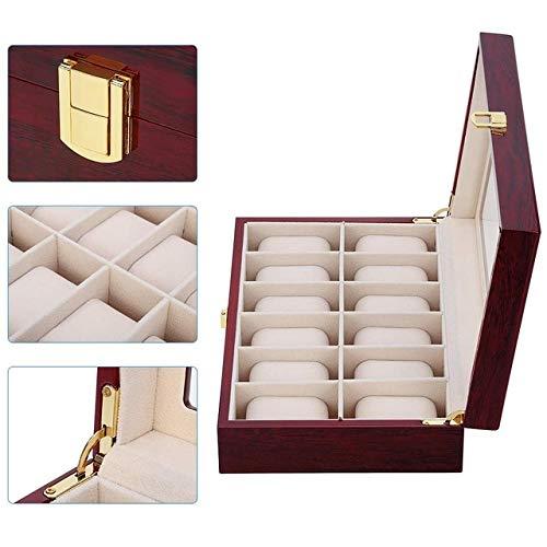 Caja de mano de madera de lujo organizador reloj hombres cristal superior caja de joyería 2 3 5 10 12 rejilla reloj organizador-12 ranuras