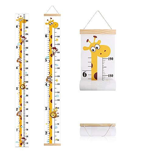 IWILCS Tabla De Crecimiento Del Bebé, Tabla de Altura para Niños, Colgar En La Pared Lonas Reglas De MedicióN, para de niña niño de medición de altura - Patrón de jirafa(200cm x 20cm)