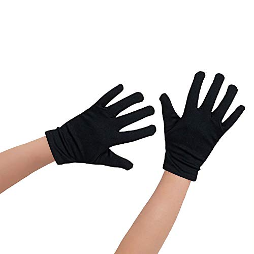 Oblique Unique® 1 Paar Kinder Handschuhe in Schwarz aus Baumwolle - auch für kleine Erwachsenenhände geeignet