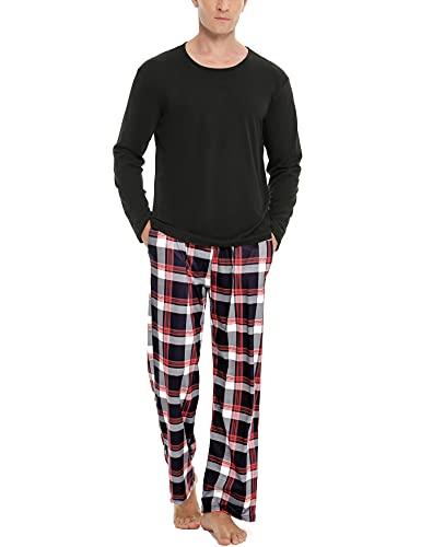 NA Schlafanzug Herren Lang Baumwolle Pyjama Set Zweiteiliger Nachtwäsche Langarm Oberteil und Karierte Schlafanzughose Sleepwear Hausanzug Dunkelschwarz M