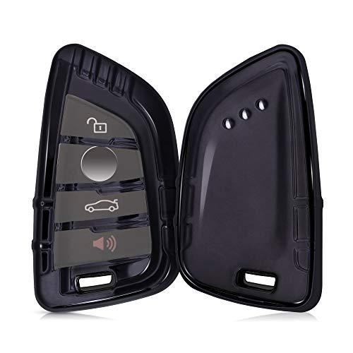 kwmobile Autoschlüssel Hülle kompatibel mit BMW 3-4-Tasten Smart Key Autoschlüssel - TPU Fullbody Schlüsselhülle Cover Schutzhülle Hochglanz Schwarz