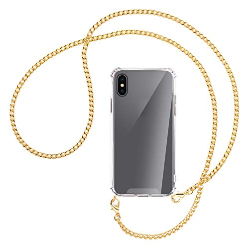 mtb more energy Collana Smartphone per Apple iPhone XS, iPhone X (5.8'') - Catena di Metallo (Oro) - Funda protectora ponible - Carcasa Anti Shock