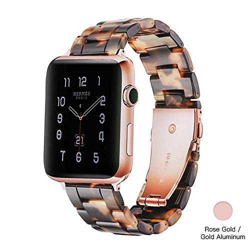 Light Apple Watch Band - Fashion Resin Comfortable iWatch Band Bracelet Compatible with Copper Stainless Steel Buckle for Apple Watch Series 4 Series 3 Series 2 Series1 (Tortoise Stone New, 38mm/40mm)