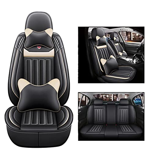 GJXJY PU Leather Car Seat Covers Full Set with Lumbar Support, Car Seat Cover Universal Waterproof Front and Rear Seat Protectors Airbag Compatible 5 Seater Car Seat Cover(Size:B,Color:Beige)