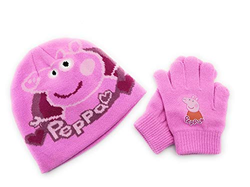 Peppa Pig Set bonnet + gants fille rose taille unique