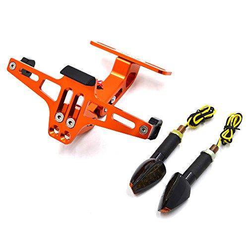 Universal Motorcycle Multi-angle Adjustable License Number Plate Frame Holder Bracket With LED Turn Signal Light (Orange)