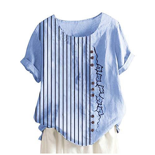 Camisas de algodón de manga corta para mujer, diseño de gato, cuello redondo, blusa de lino, tallas grandes.S-4XL