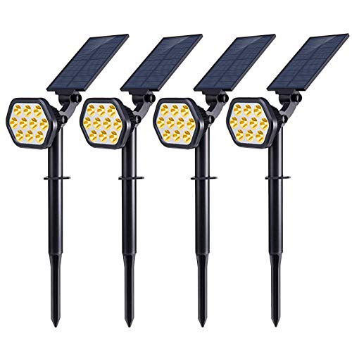 Nekteck Solar Lights Outdoor,10 LED Landscape Spotlights Solar Powered Wall Lights 2-in-1 Wireless Adjustable Security Decoration Lighting for Yard Garden Walkway Porch Pool Driveway