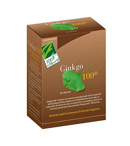 100% Natural Ginkgo Suplemento de Hierbas Bienestar Mental y Memoria - 60 Cápsulas