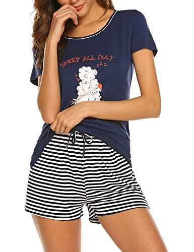 Balancora Pyjama Damen Kurze Ärmel Schlafanzug Set Süße Mode Nachtwäsche Streifen kurz Hose Zweiteiliger Navy Blue XXL