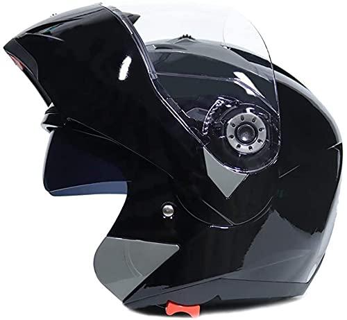 GPFFACAI Casco Integral Moto mujerCasco Plegable para Motocicleta, Casco Integral con Gafas Dobles antivaho, Casco Retro para Scooter, Casco para ciclomotor, Casco para Scooter(Size:Large)