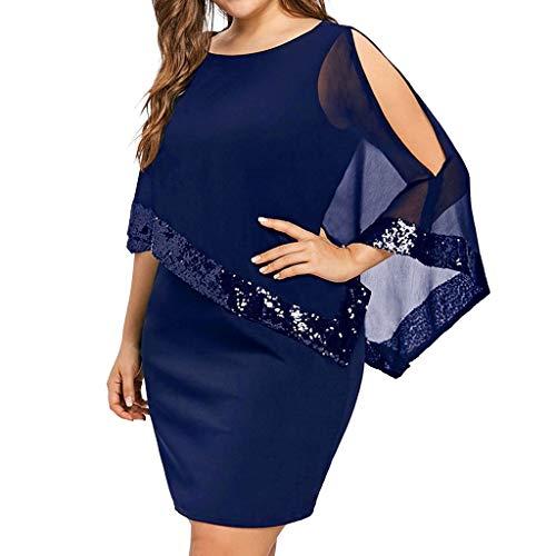 DQANIU 🌸🌸 Damenkleider, Damen Plus Size Kalte Schulter Overlay Asymmetrische Chiffon Liebsten Pailletten Kleid