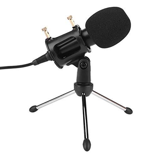 Microfone de estúdio, microfone, com suporte de tripé dobrável para gravação de microfone, para computador/celular de videoconferência