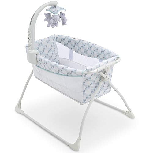 Delta Children Deluxe Activity Sleeper Bedside Bassinet - Folding Portable Crib for Newborns, Windmill
